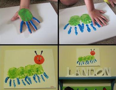 How adorable is this caterpillar idea? Can't pass up a hand print craft! #crafts #kids http://t.co/jIv3xZY7IO