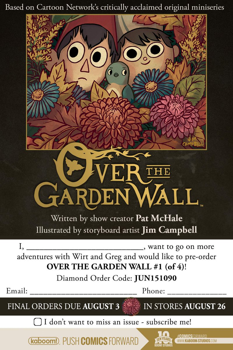 Let your comic shop know by 8/3 if you want the new #OverTheGardenWall series by @Patrick_McHale & #JimCampbell! http://t.co/W5JeDIj41t