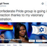"""Confederate Facebook group hijacked, turned into """"LGBT Southerners for Michelle Obama"""" http://t.co/vRNFZryAhQ http://t.co/hPnHR1DuHO"""