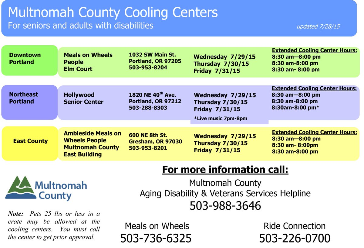 Pls share: @MultCo Cooling Ctrs are running on extended hours today thru Friday (7/31): http://t.co/XKA3T8PYGA http://t.co/iwwlcld5Zv