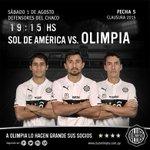 Este sábado a llenar el Defensores del Chaco y alentar a nuestro querido Club #Olimpia ???? ⭐ ⭐ ⭐ http://t.co/FjnEjPnrWl