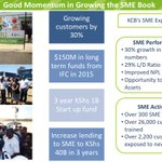 """""""We intend to increase lending to SMEs to Kshs. 40B In 3 years"""" @JoshuaOigara #KCB2015HYResults http://t.co/TgAWND41MS"""