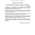 Este comunicado anuncia que el presidente SSC va a seguir gobernando desde Cuba. La Constitución dice otra cosa. http://t.co/2ewM5Kh2QJ