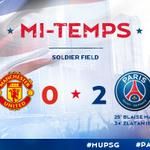 45+1 Cest la mi temps, le Paris Saint-Germain mène 2 buts à 0 face à Manchester United !!! #ParisLovesUS #MUPSG http://t.co/6QzxEOc5M2