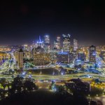 Aerial views of #Pittsburgh are fun. Night views of #Pittsburgh are beautiful. Put them together? Well, you get this. http://t.co/6TOMoD5079