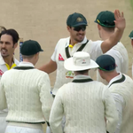 """Its 300 Test wickets for @MitchJohnson398."" - @michaelvaughan. Bairstow is OUT! #Ashes #WWOS http://t.co/JCo2dyXexI"