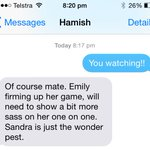 In my excitement for the cricket, flicked @hamishblake a text!  Sometimes were not on the same page.  #TheBachelorAU http://t.co/YHDgYTRQwM
