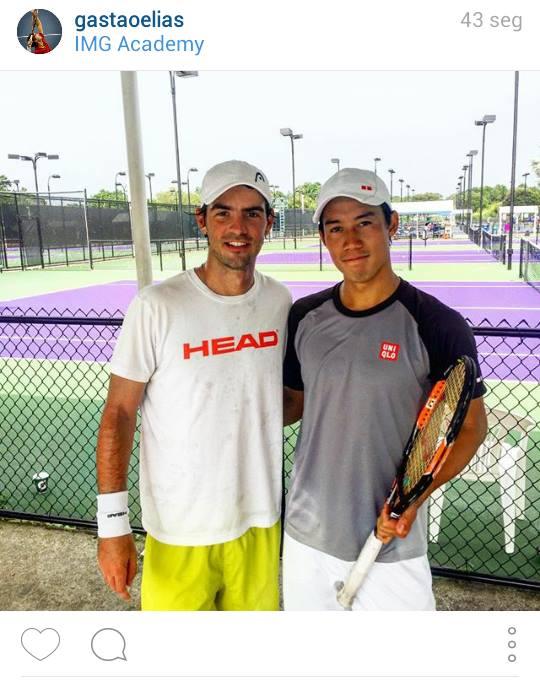 Gastão Elias and Kei Nishikori, room buddies at IMG Academy as teenagers, met again earlier today! http://t.co/GyKAmZfV1G