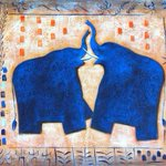 RTでお金が舞い込んでくる青い象の絵が話題ですけど、こちらの青い象の方が凄いかも〜 恋人ができたり、プロポーズされたり、恋愛関係に幸運をもたらしてくれるそうです。2枚組み合わせるとすごいことが起こるそうです!! RTしてみてください! http://t.co/2GlvLnT9oR
