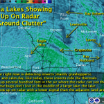 Hot + calm + grasshoppers = radar ground clutter pattern that shows the area lakes. #txwx #dfwwx http://t.co/2mvabQVhoP