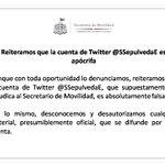 Reiteramos que la cuenta de Twitter @SSepulvedaE es apócrifa. http://t.co/EWjEbbYn3T