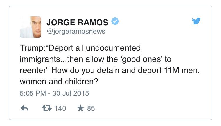 """@ThisIsFusion: Jorge Ramos takes to Twitter to roast Trump on immigration: http://t.co/HFAUi1tfE4 http://t.co/WTGPZLC69c"" @RichardOHornos"
