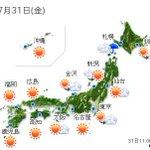 【全国の天気】(31日12:00) http://t.co/x7YRCRPFtj 広く厳しい暑さが続くでしょう。九州から東北はジリジリと強い日差しが照りつける見込みです。最高気温は、.. http://t.co/3ONQGs0ZI8