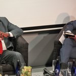 Acha Leke interviewing Minister Opimbat, Minister of Sports of the Congo about @Brazzaville2015, at #AAIS2015. http://t.co/WC7KYzMQji