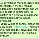 O- or A- Blood required for a Friends Mother undergoing a surgery today. Urgent. Please RT? #Chennai http://t.co/qT85MpSPMc