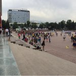 People starting to gather in Abay Square in Almaty for the announcement of the 2022 Winter Olympic hosts. http://t.co/eRxUzn0zoB