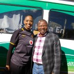 Great vibes at the Kaizer Chiefs Village. Jessica Motaung with @LesediFMs Chomane Chomane #Amakhosi4Life http://t.co/EjKI1WBVCQ