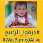 جُرم وحشي لإرهابيين وحشيين! عزائنا الحار لعائلة دوابشة وصبرا فإن ابنكم في جنات النعيم #wasBurnedAlive  #حرقوا_الرضيع http://t.co/16sp5QP7rg
