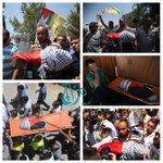 جنازة الطفل الشهيد #علي_دوابشة والذي أستشهد إثر الحريق الذي إفتعله مستوطنون في #نابلس فجر اليوم #حرقوا_الرضيع #فلسطين http://t.co/m2SI89Xvcx