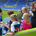 Back from international duty, @gmccleary12 meets some young Royals at the Open Day. #MyTownMyClub http://t.co/Ctv9M2bgzk