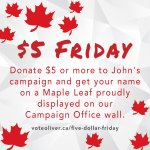 Were launching $5 Friday today! Please donate at https://t.co/1Kyl3xPSRs and help us prepare for #elxn2015 #oakville http://t.co/mHqHQflOJ5