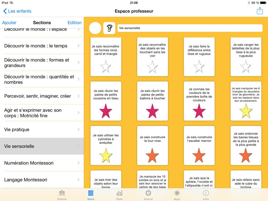 Les étoiles de compétences Vie sensorielle Montessori. #JeValide @abcapplications http://t.co/mGmnmDbu96
