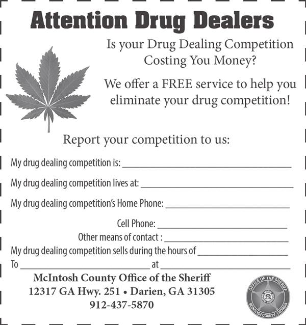 """Attention drug dealers!"" Georgia sheriff's ad offers ""free service"" to narcotics peddlers. http://t.co/MWgscmW5Xq http://t.co/43eCOTnOyb"