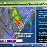Severe Thunderstorm Warning in Effect until 700 PM for portions of Nueces and San Patricio Counties. See image. http://t.co/lzJrmCf597