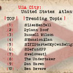 Atlanta 1 #LiesMenTell 2 Dylann Roof 3 Russell Wilson 4 #MansionElan 5 #IfIStartedMyOwnReligion 6 #DefundPP http://t.co/g2d7vhN5Qr