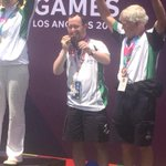 First golf medal for Ireland!Paul Kirrane @pnutputts from Co Clare wins bronze with partner Pat Rutherford @SOIreland http://t.co/wL44gglvXh