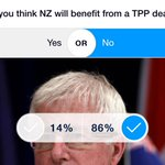 3News Media Poll says 86% think New Zealand will not benefit from TPP http://t.co/Ykp34eek7T