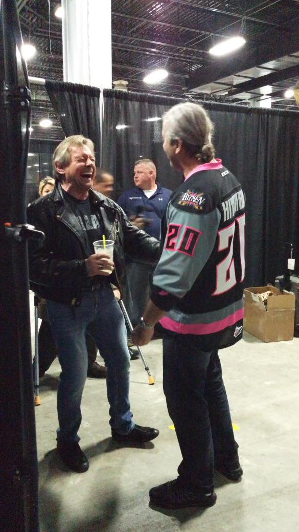 Took this candid picture of @R_Roddy_Piper with his cousin  @BretHart earlier this year. #RIPHotRod http://t.co/w1luqmAMYr