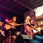 A little bit of rain doesnt stop this crowd! @TheMissEmily is now on stage #rockinthesquare. http://t.co/WJ6d3WDVTx