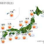 【全国の天気】(1日12:00) http://t.co/x7YRCRPFtj 午後は猛烈な暑さと急な雨にご注意ください。九州から東北は晴れて、強い日差しが照りつけるでしょう。予想.. http://t.co/uaIf0CxtrH