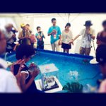 暑い屋外展示場では水ヘボコンがさらに暑い戦いを繰り広げています! #mft2015 http://t.co/xd0pbWMWmP