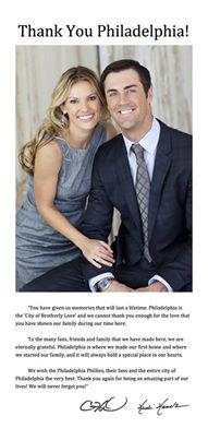 Thank You Philadelphia! - Cole & Heidi Hamels http://t.co/svdSePTONq