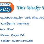 Again number one in radio city top ten ... Mutham kodutha mayakkari from tin ... Thanks radio city ! 🙏 http://t.co/ziV5KkS0rp