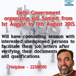 "Do attend the ""Job Summit"" organized by Employment Department of Delhi Govt. http://t.co/Pdzx4szddq"