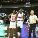 Team World defeats Team Africa, 101-97 in first ever NBA game in Africa. Hakeem Olajuwon had 2 points in 1 minute. http://t.co/RKUY4u0Cew