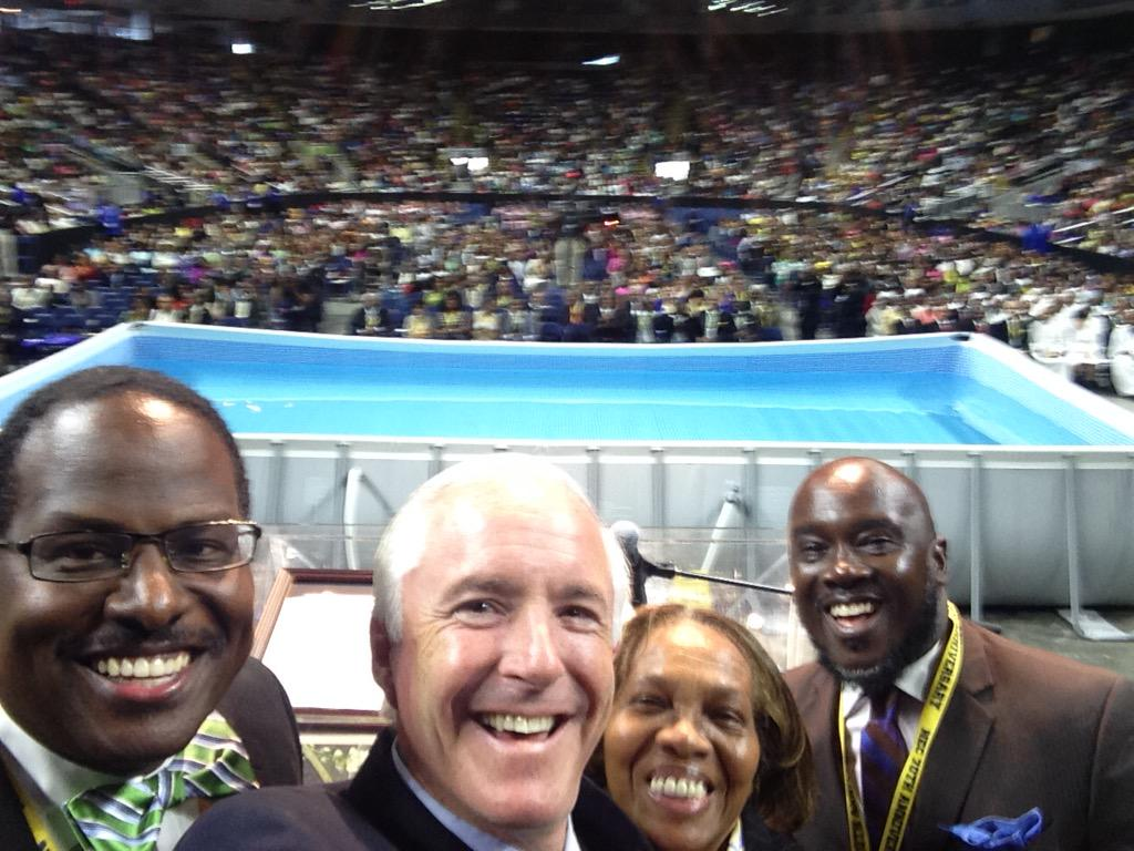Biggest @CityofBptCT selfie ever! @7DayAdventist NE Confetence @Webster_Arena w Dr Honore, Coms Lovelace, Marshall http://t.co/gSSVRp485D