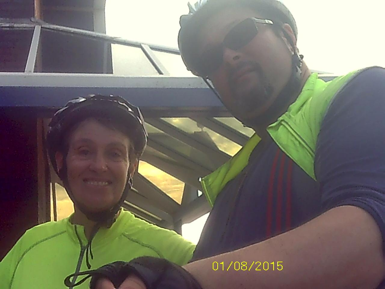 this me and my mam when we meet up this morning in Sunderland 46 miles from to day #biketrip #ncn1 http://t.co/hRfrB5MIBY