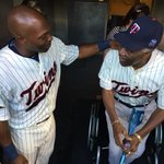 Different generations, both legends. @toriihunter48 greets Mudcat Grant in the dugout. http://t.co/JxWJaAooGd