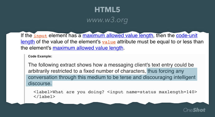 Apparently the HTML5 spec takes a stab at Twitter.  http://t.co/T2SW0NBCuG http://t.co/u0Rs8KtXNO