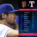 Cole Hamels makes his Rangers debut tonight at 7:05 vs. the Giants. Preview: http://t.co/Km7FhCmFTG http://t.co/tdAUhTUDlh