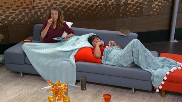 Becky is chewing like a horse and James looks like a pretty mermaid. #BB17 http://t.co/mlImFBjhev