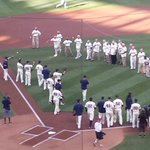 Two #MNTwins teams, 50 years apart. Current Twins catching first pitches from the 1965 team. http://t.co/KAATw3ZGSG