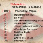 País Colombia 1 #EnormesGanasDe 2 MY BOYS 3 #SabadoDeGanarSeguidores 4 #MorireFelizSi 6 #SpringerCorrupta http://t.co/I9s7UMYCej