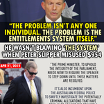 Abbott blamed everyone EXCEPT Bronwyn. A far cry from when Slipper misused $954. #AusPol http://t.co/G8nt8oclFg