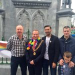 Ard-Mhéara @chrisjoleary with @JOBrien_SF and councillors @CllrMickNugent & @shanegoshea supporting #corkpride10 http://t.co/xISsc8p3ef
