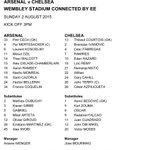 Heres the official teamsheet for todays FA #CommunityShield clash between @Arsenal and @ChelseaFC http://t.co/PZwMVchKuX